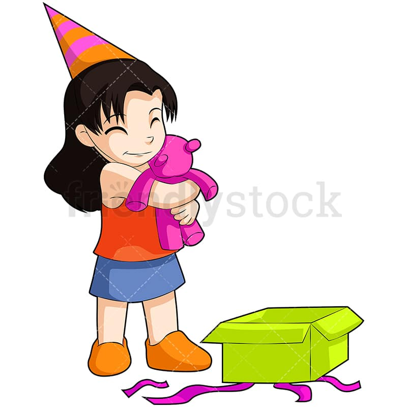 Birthday Girl Opening Present Cartoon Vector Clipart