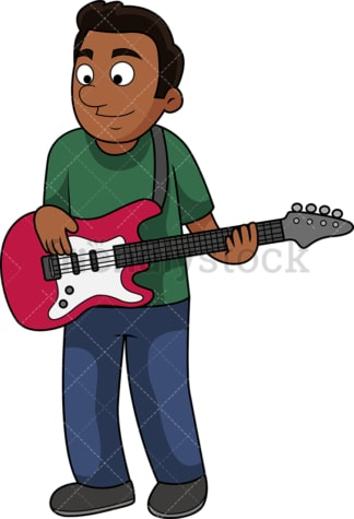 Black guy playing the bass guitar. PNG - JPG and vector EPS file formats (infinitely scalable). Image isolated on transparent background.