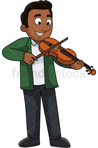 Black guy playing the violin. PNG - JPG and vector EPS file formats (infinitely scalable). Image isolated on transparent background.