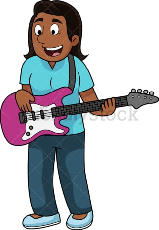 Black woman playing bass guitar. PNG - JPG and vector EPS file formats (infinitely scalable). Image isolated on transparent background.