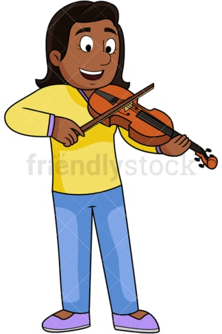 Black woman playing the violin. PNG - JPG and vector EPS file formats (infinitely scalable). Image isolated on transparent background.