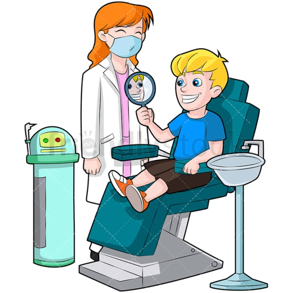 Kid in dentist chair with shiny teeth. PNG - JPG and vector EPS (infinitely scalable). Image isolated on transparent background.
