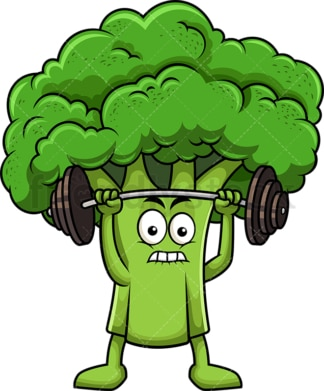 Broccoli cartoon character lifting weights. PNG - JPG and vector EPS (infinitely scalable). Image isolated on transparent background.