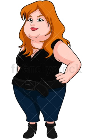 Chubby young woman standing with confidence. PNG - JPG and vector EPS (infinitely scalable). Image isolated on transparent background.