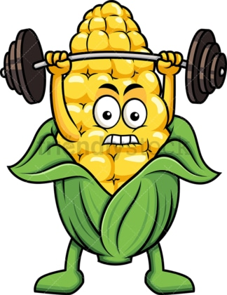 Maize cartoon character lifting weights. PNG - JPG and vector EPS (infinitely scalable). Image isolated on transparent background.