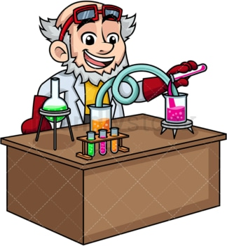 Mad scientist working in his lab. PNG - JPG and vector EPS (infinitely scalable). Image isolated on transparent background.