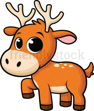 Adorable baby reindeer. PNG - JPG and vector EPS (infinitely scalable). Image isolated on transparent background.