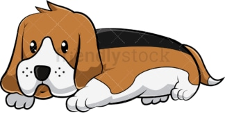 Cute beagle dog resting. PNG - JPG and vector EPS (infinitely scalable). Image isolated on transparent background.