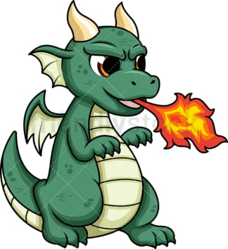 Cute dragon breathing fire. PNG - JPG and vector EPS (infinitely scalable). Image isolated on transparent background.