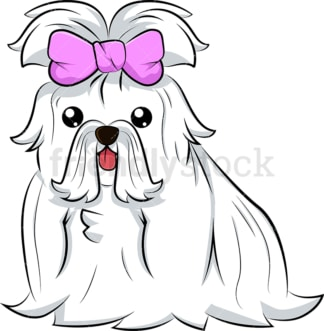 Cute maltese dog pink bow. PNG - JPG and vector EPS (infinitely scalable). Image isolated on transparent background.