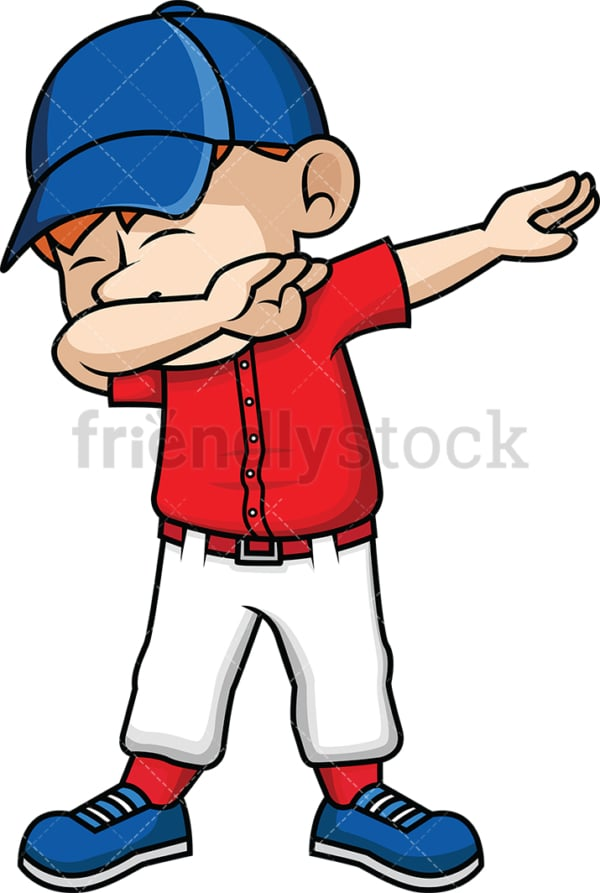 Baseball kid doing the dab. PNG - JPG and vector EPS file formats (infinitely scalable). Image isolated on transparent background.