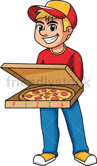 Delivery boy holding open pizza box. PNG - JPG and vector EPS (infinitely scalable). Image isolated on transparent background.