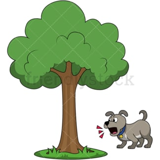 Dog barking up the wrong tree. PNG - JPG and vector EPS file formats (infinitely scalable). Image isolated on transparent background.