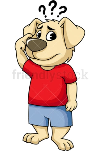 Dog mascot confused. PNG - JPG and vector EPS (infinitely scalable). Image isolated on transparent background.