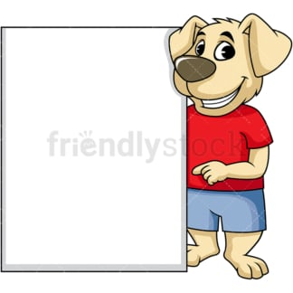 Dog cartoon character behind tall empty sign. PNG - JPG and vector EPS (infinitely scalable). Image isolated on transparent background.