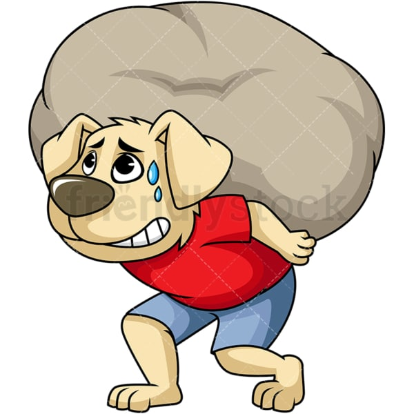 Dog cartoon character carrying heavy stone. PNG - JPG and vector EPS (infinitely scalable). Image isolated on transparent background.