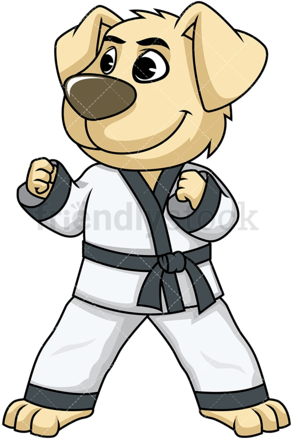 Dog cartoon character doing karate. PNG - JPG and vector EPS (infinitely scalable). Image isolated on transparent background.