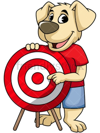 Dog cartoon character pointing at red target. PNG - JPG and vector EPS (infinitely scalable). Image isolated on transparent background.
