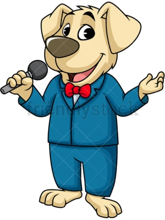 Dog singer. PNG - JPG and vector EPS (infinitely scalable). Image isolated on transparent background.
