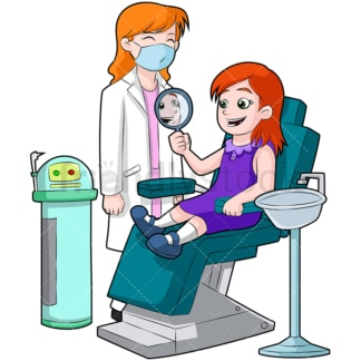Girl at dentist looking in mirror. PNG - JPG and vector EPS (infinitely scalable). Image isolated on transparent background.