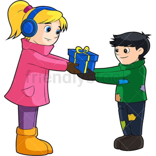 Little girl giving a present to a poor boy. PNG - JPG and vector EPS (infinitely scalable). Image isolated on transparent background.
