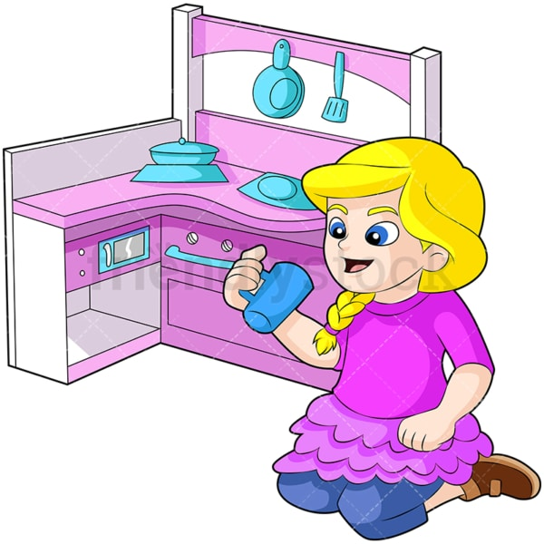 Little girl playing with kitchen set. PNG - JPG and vector EPS (infinitely scalable). Image isolated on transparent background.