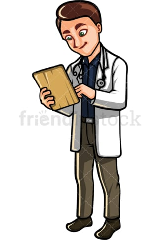 Man doctor taking notes. PNG - JPG and vector EPS file formats (infinitely scalable). Image isolated on transparent background.