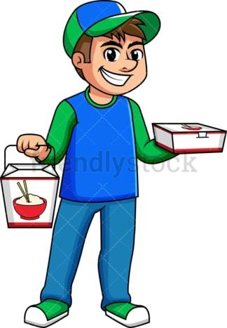 Guy delivering asian food. PNG - JPG and vector EPS (infinitely scalable). Image isolated on transparent background.