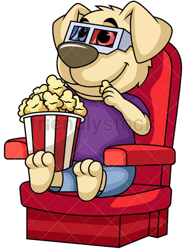 Dog character watching movie. PNG - JPG and vector EPS (infinitely scalable). Image isolated on transparent background.