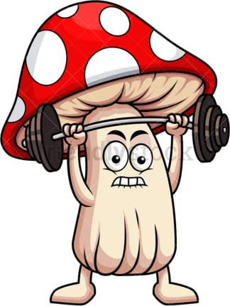 Mushroom cartoon character lifting weights. PNG - JPG and vector EPS (infinitely scalable). Image isolated on transparent background.