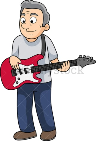 Old man bass guitar player. PNG - JPG and vector EPS file formats (infinitely scalable). Image isolated on transparent background.