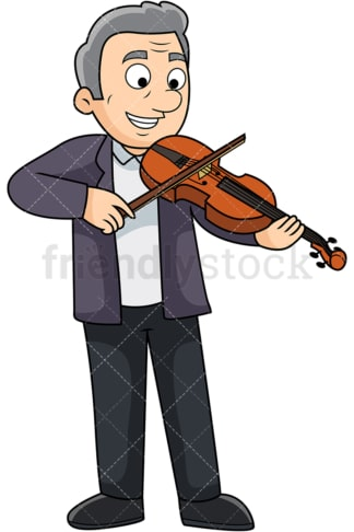 Old man playing the violin. PNG - JPG and vector EPS file formats (infinitely scalable). Image isolated on transparent background.