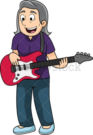 Old woman playing bass guitar. PNG - JPG and vector EPS file formats (infinitely scalable). Image isolated on transparent background.
