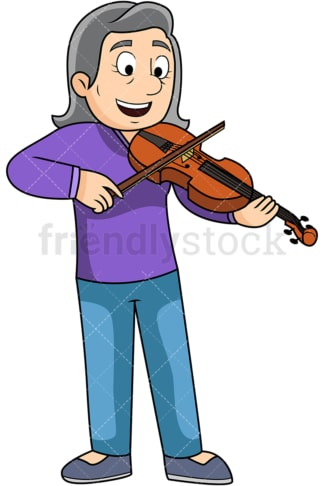 Old woman playing the violin. PNG - JPG and vector EPS file formats (infinitely scalable). Image isolated on transparent background.