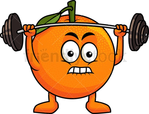 Orange cartoon character lifting weights. PNG - JPG and vector EPS (infinitely scalable). Image isolated on transparent background.