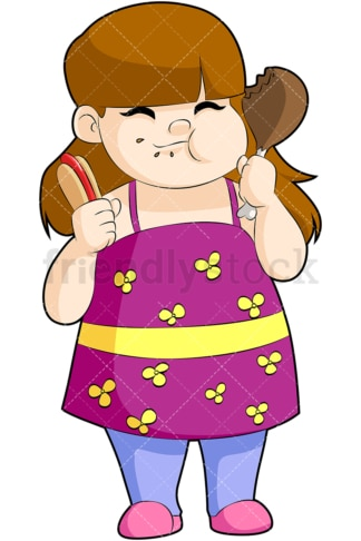 Fat girl eating hot dog. PNG - JPG and vector EPS file formats (infinitely scalable). Image isolated on transparent background.