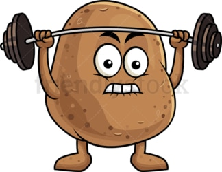 Potato cartoon character lifting weights. PNG - JPG and vector EPS (infinitely scalable). Image isolated on transparent background.