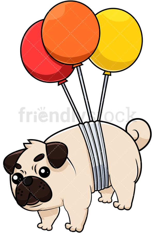 Pug dog strapped to balloons. PNG - JPG and vector EPS (infinitely scalable). Image isolated on transparent background.