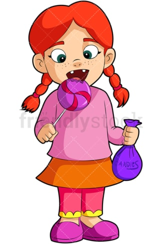 Readhead girl eating lollipop. PNG - JPG and vector EPS (infinitely scalable). Image isolated on transparent background.
