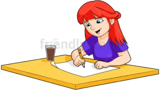 Redhead little girl drawing. PNG - JPG and vector EPS (infinitely scalable). Image isolated on transparent background.