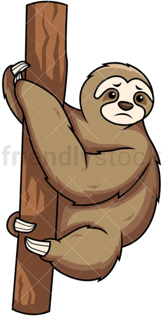 Sad sloth. PNG - JPG and vector EPS (infinitely scalable). Image isolated on transparent background.