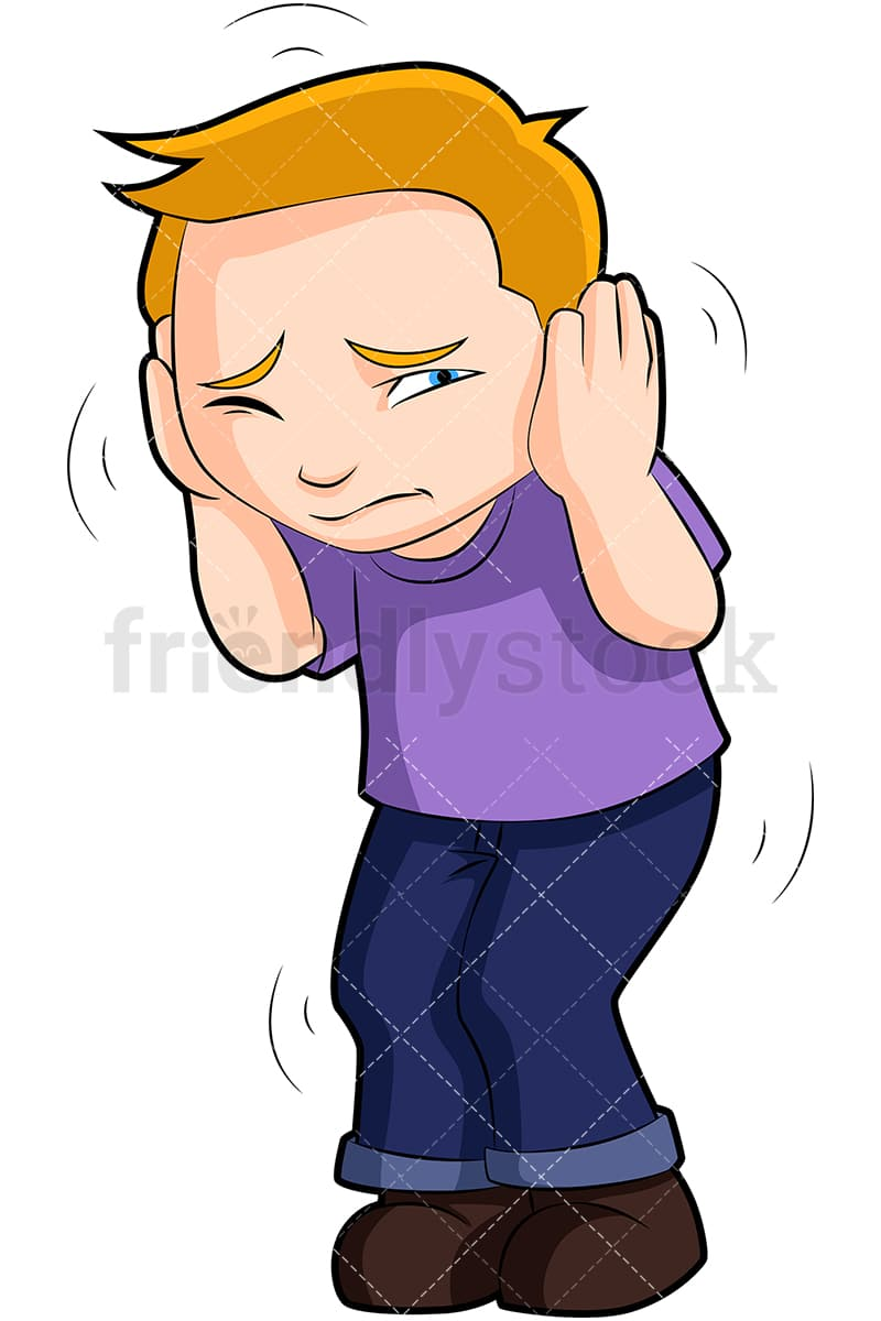Scared Boy Hunched Over Covering Ears Cartoon Vector ...