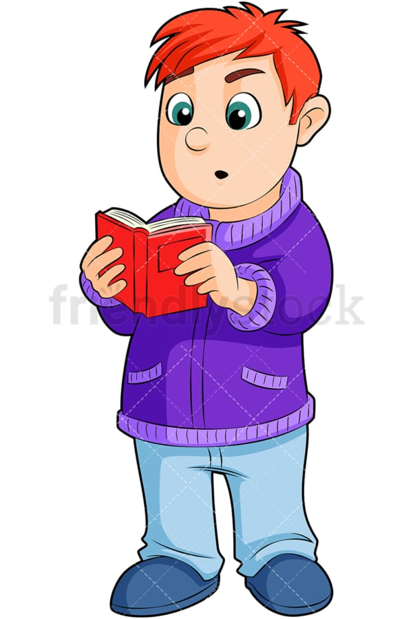 Little boy reading literature. PNG - JPG and vector EPS (infinitely scalable). Image isolated on transparent background.