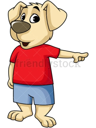 Surprised dog cartoon character pointing. PNG - JPG and vector EPS (infinitely scalable). Image isolated on transparent background.