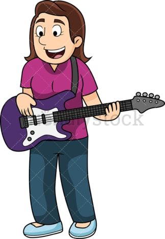 Woman playing the bass guitar. PNG - JPG and vector EPS file formats (infinitely scalable). Image isolated on transparent background.