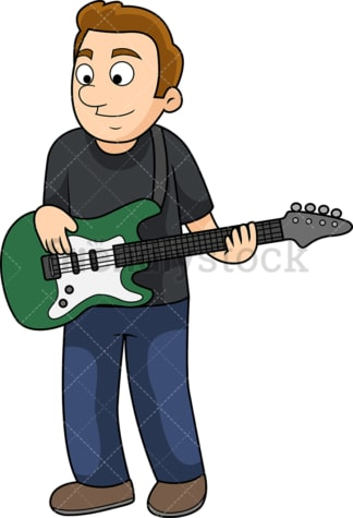 Young man playing the bass. PNG - JPG and vector EPS file formats (infinitely scalable). Image isolated on transparent background.