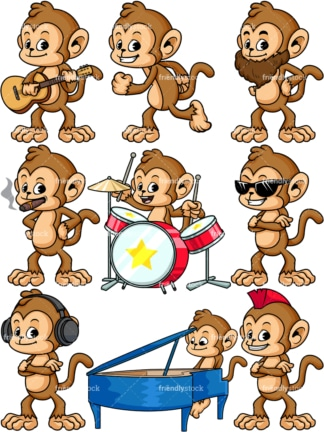 Cartoon monkey vector collection. PNG - JPG and vector EPS file formats (infinitely scalable)