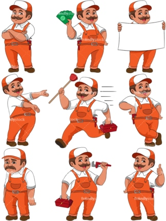 Mascot handyman. PNG - JPG and vector EPS file formats (infinitely scalable). Image isolated on transparent background.