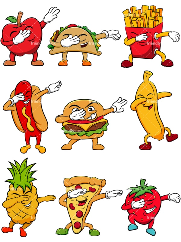 Food and fruit cartoon characters doing the dab. PNG - JPG and vector EPS file formats (infinitely scalable). Image isolated on transparent background.