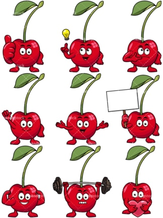 Mascot cherry cartoon character. PNG - JPG and vector EPS file formats (infinitely scalable). Image isolated on transparent background.